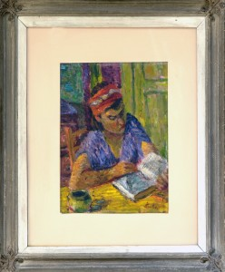 Aralica Stojan (1883-1980), Enterier, pred 11941, maslo na karton, 33,5x27