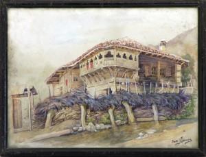 Benson Olga, Selska kuka, pred 1940, akvarel na hartija, 25x35,5