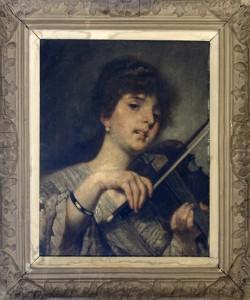 Bukovac Vlaho, Violinistkinja, do 1890, maslo na platno, 51,5x42
