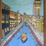 Emerik Fejes (1904-1969), Venecija 1960, maslo na lesonit,  63x41
