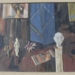 Gvozdenovic Nedeljko (1902-), Enterier, 1960, tempera na lesonit, 50x64