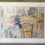Hakman Kosta (1899-1961) Enterier, pred 1941, akvarel na hartija,50x71