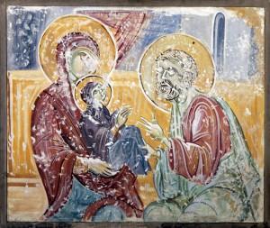 Jovanovic Jelena, Miluvanjeto na Bogorodica, kopija od crkvata sv. Bogorodica vo s. Susica) na platno (1958 otkupena)