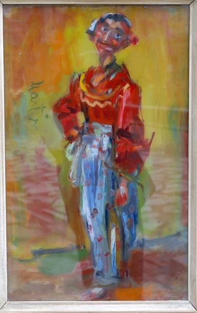 Martinoski Ciganka so crvena bluza,1963,maslo na staklo,68,5x42,5